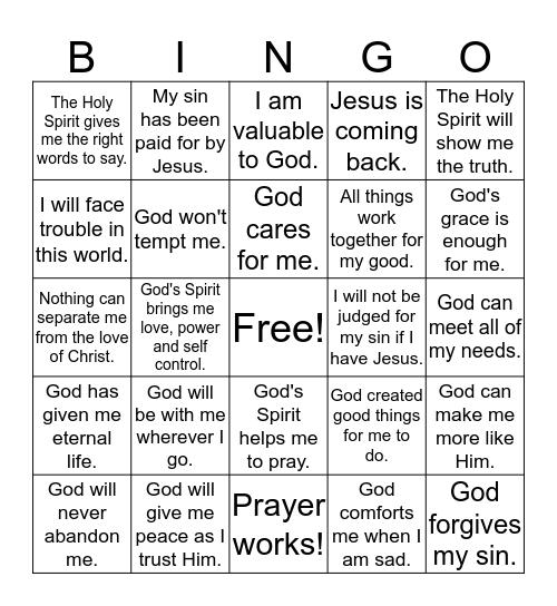 God's Promises Bingo Card