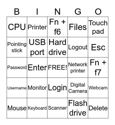 Computer Basics Bingo Card