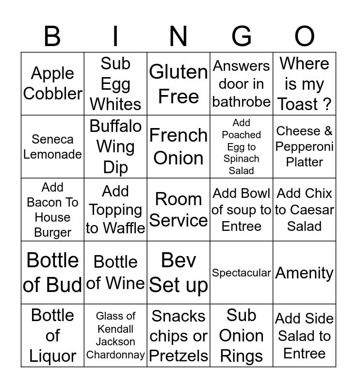 Room Service Bingo Card