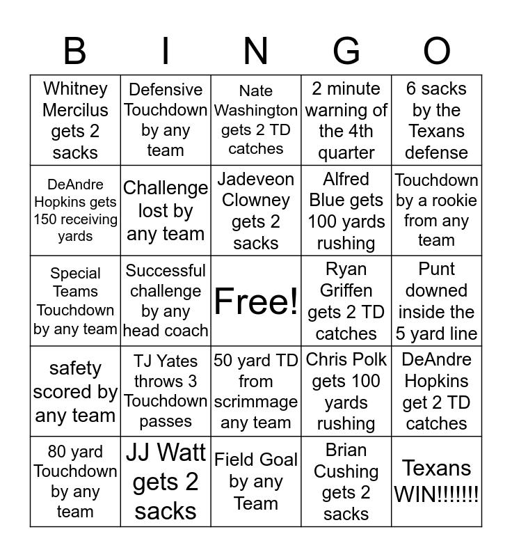 Texans vs. Colts  Bingo Card