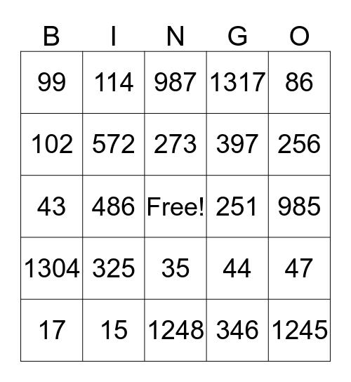 4th and 5th grade Bingo Card