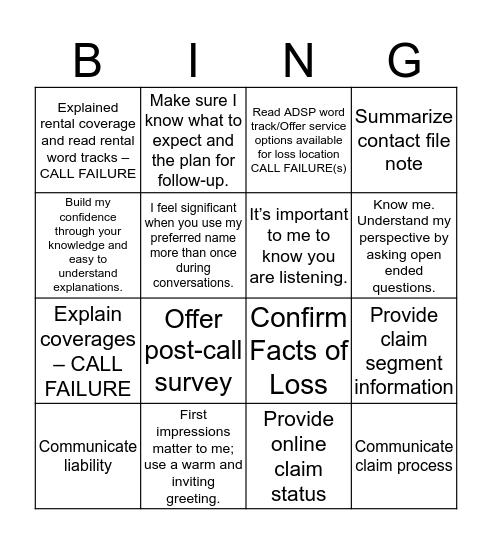 Customer Interaction Review (CIR) Bingo Card