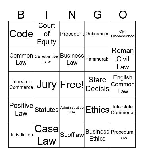 Business Law: Chapter 1 Bingo Card