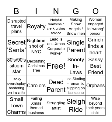 Hallmark Holiday Movies Bingo Card