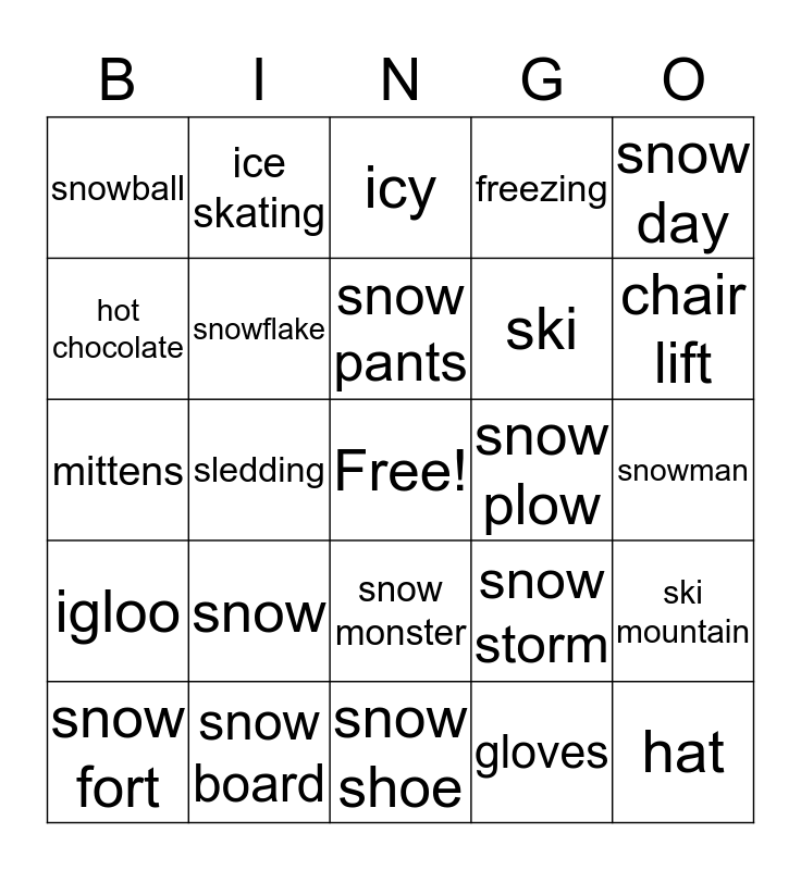 Winter Bingo Card