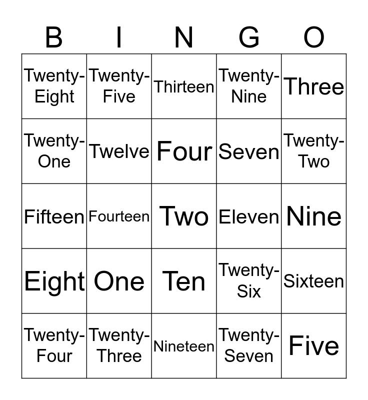 Numbers! Bingo Card