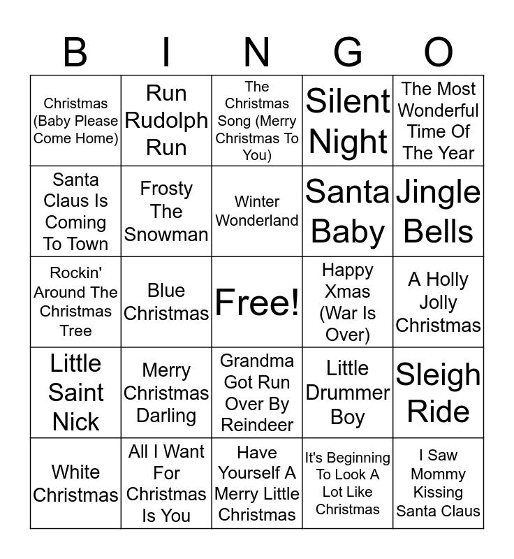 Holiday Songs Bingo Card