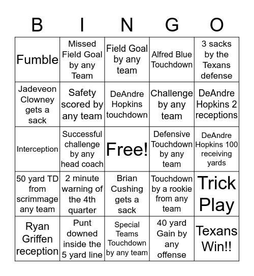 Texans vs. Titans Bingo Card