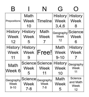 Classical Conversation Bingo Card