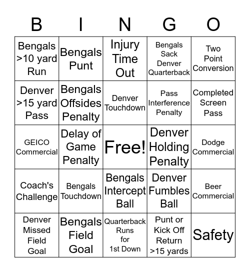Monday Night Football - 12/28/2015 Bingo Card