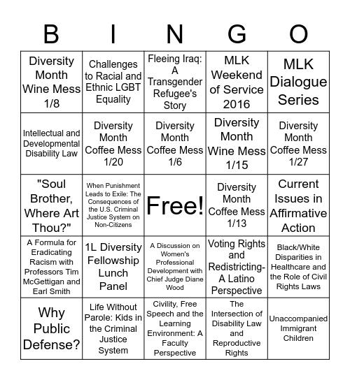 2016 Diversity Month Bingo Card