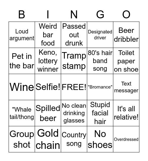 BAR BINGO! Bingo Card