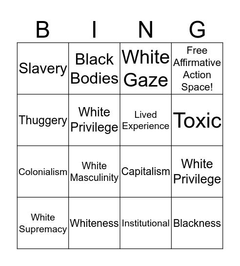 Chauncey DeVega Bingo Card