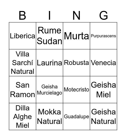 Coffea Diversa Bingo Card