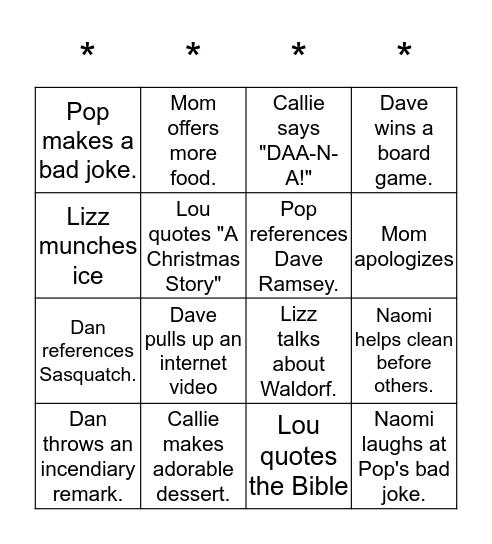 Palazzo Family Bingo Card