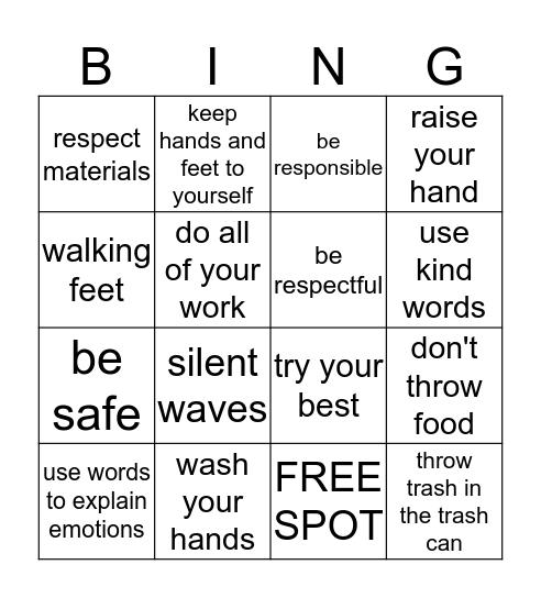 Expectations for Behavior Bingo Card