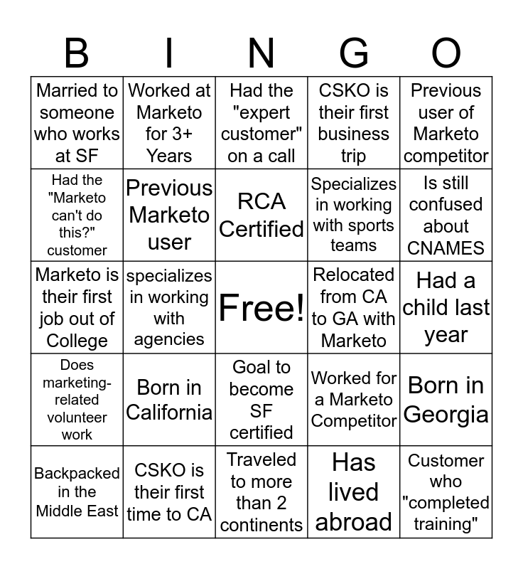 CSKO Bingo! Bingo Card