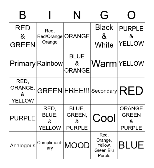Color Schemes Bingo Card