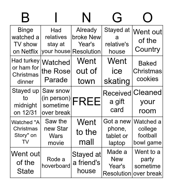 Christmas Break Bingo!  Bingo Card