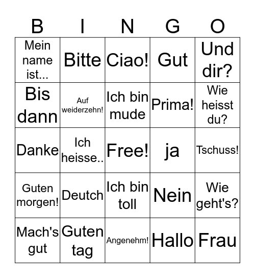 DEUTCH Bingo Card