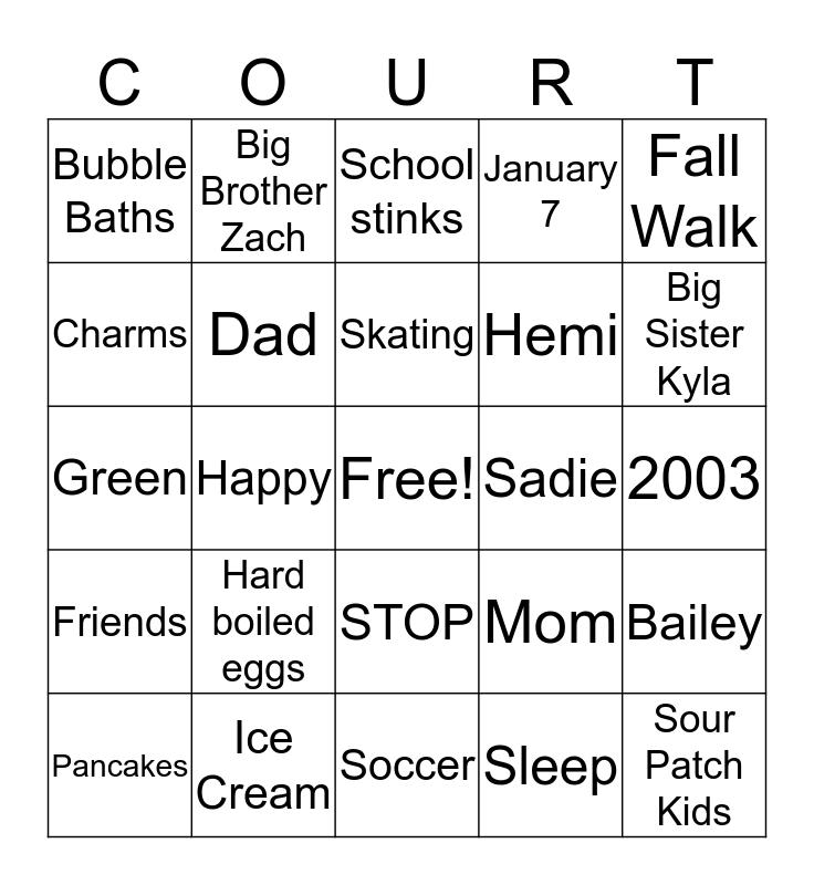 Courtney Bingo Card