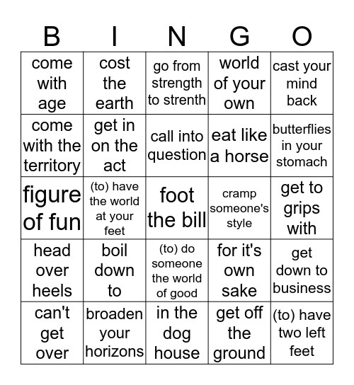 CAE BINGO IDM 2 Bingo Card