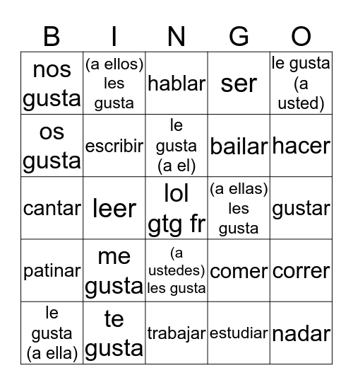 lindsa Bingo Card