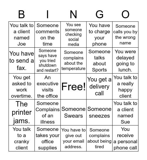Office Bingo  Bingo Card