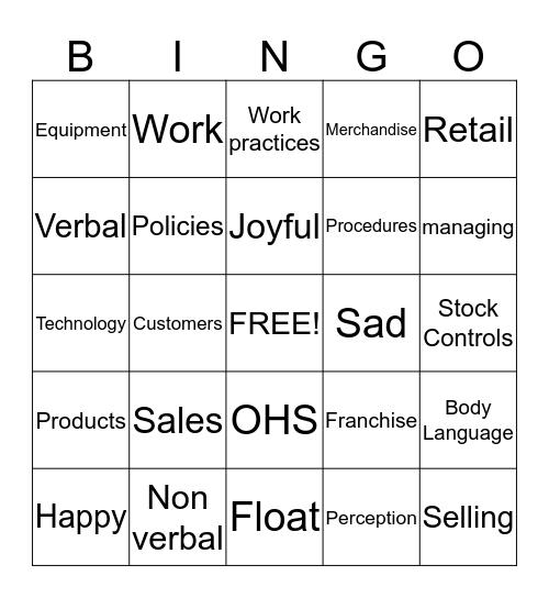 Certificate II Retail & Business Bingo Card