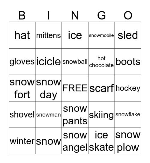 Winter Words  Bingo Card