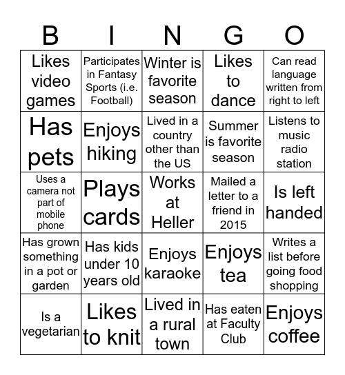 Heller Community Day Bingo Card