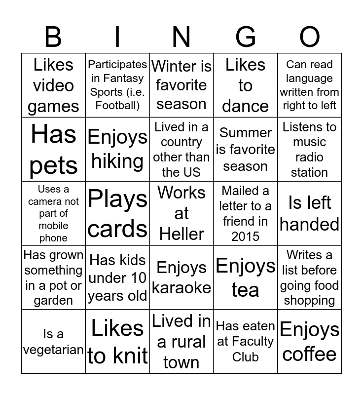 Heller Community Day Bingo Card