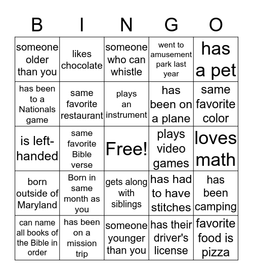 2016 Winter Retreat Icebreaker Bingo Card