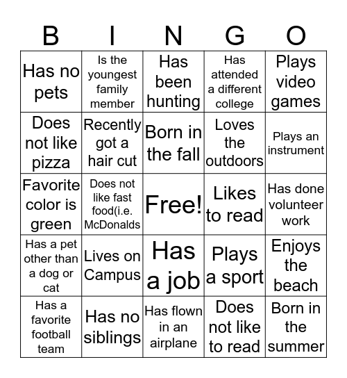Getting to Know Your Peers Bingo Card