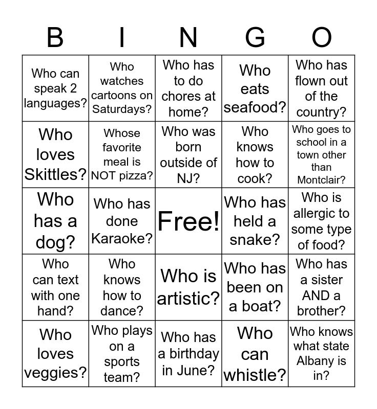 Getting to Know You. Bingo Card