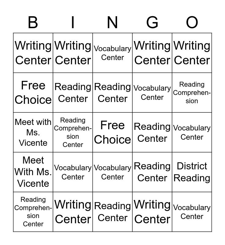 Ms. Vicente's Center Bingo Card
