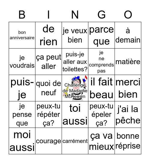 Français 8 Bingo Card