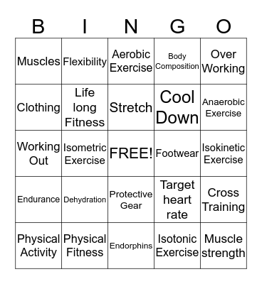 Exercise and Life Long Fitness Bingo Card