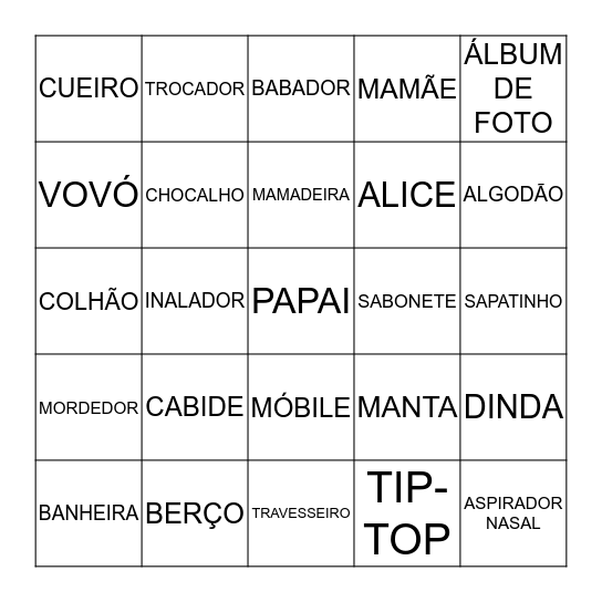 BINGO DA ALICE Bingo Card