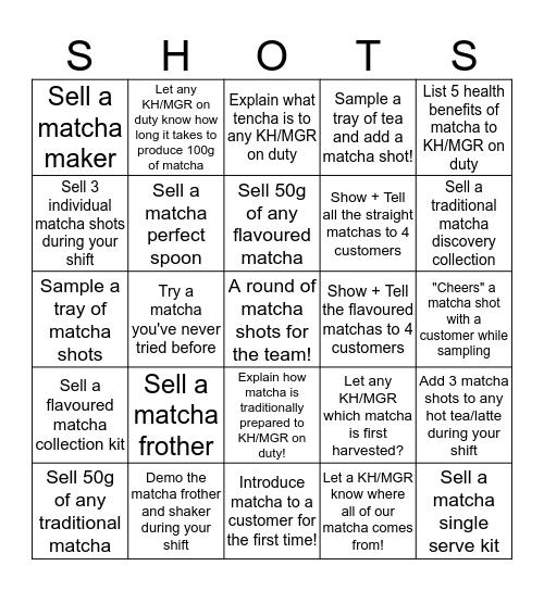 Matcha Shot Bingo Card