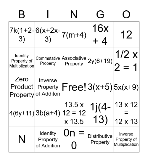 Factoring Out the GCF Bingo Card