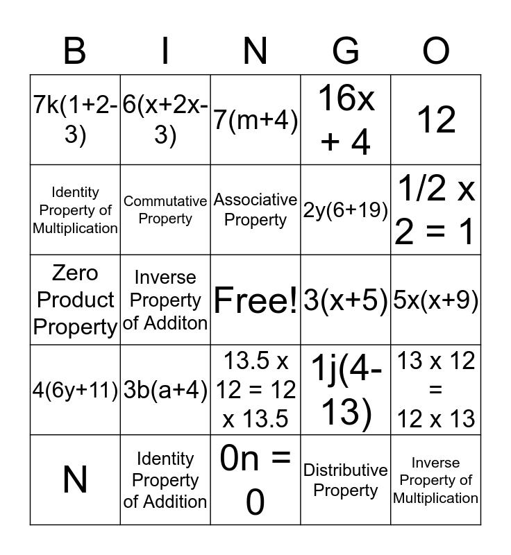 Factoring Out the GCF Bingo Card