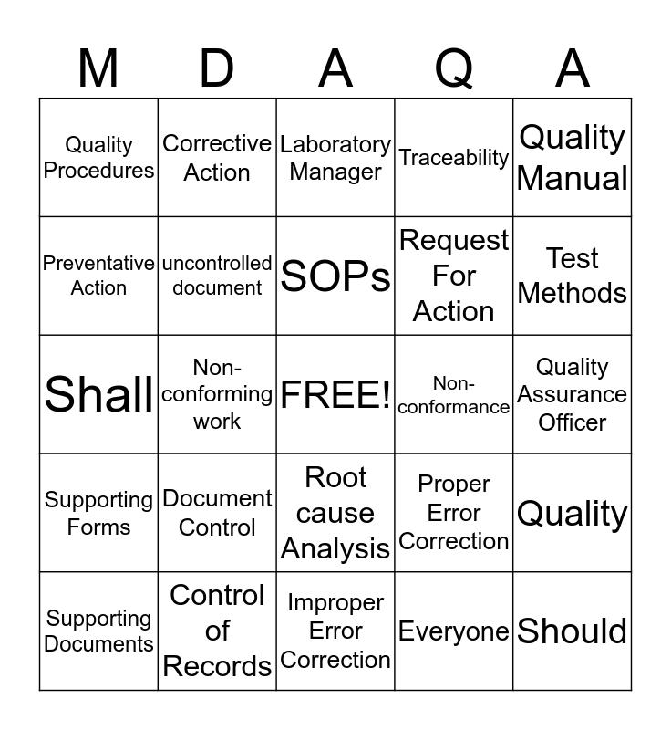 MDAVDL Quality System Bingo Card