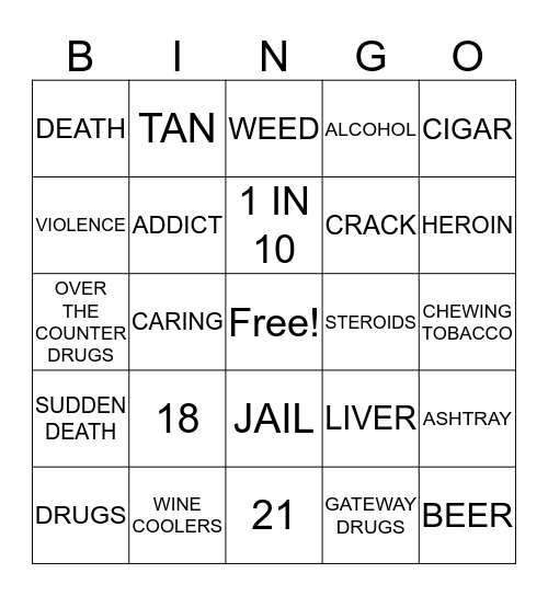 Drug Awareness Bingo Card