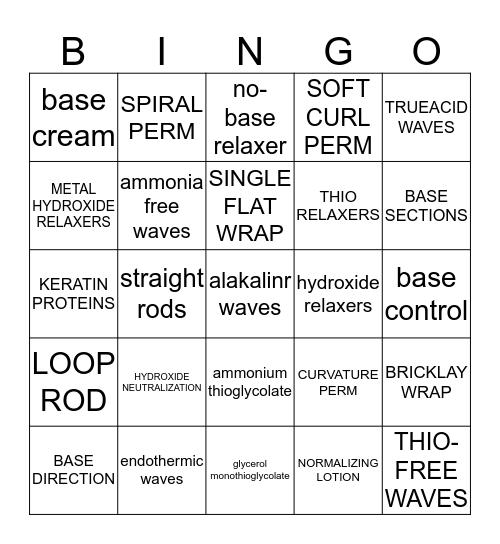 Chemical texture Bingo Card