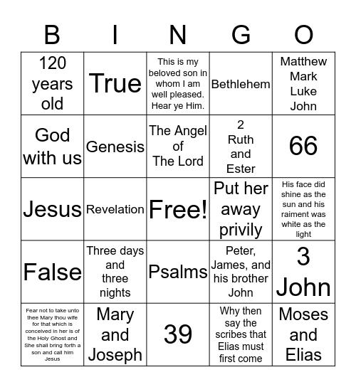 The Birth and Transfiguration of Jesus Christ Bingo Card