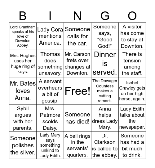 Downton Abbey Bingo Card