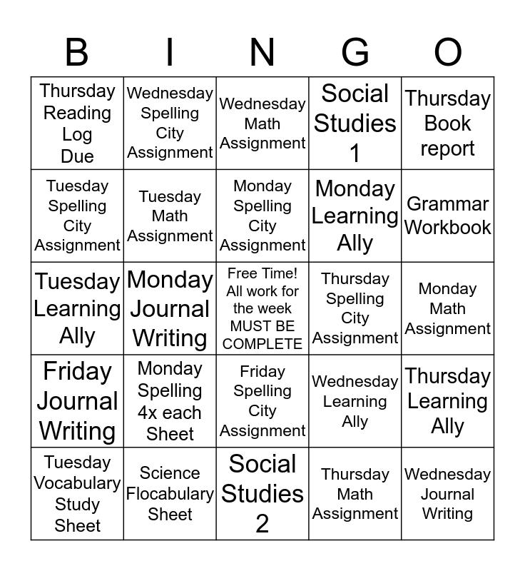 Weekly ork in Room 304 Bingo Card