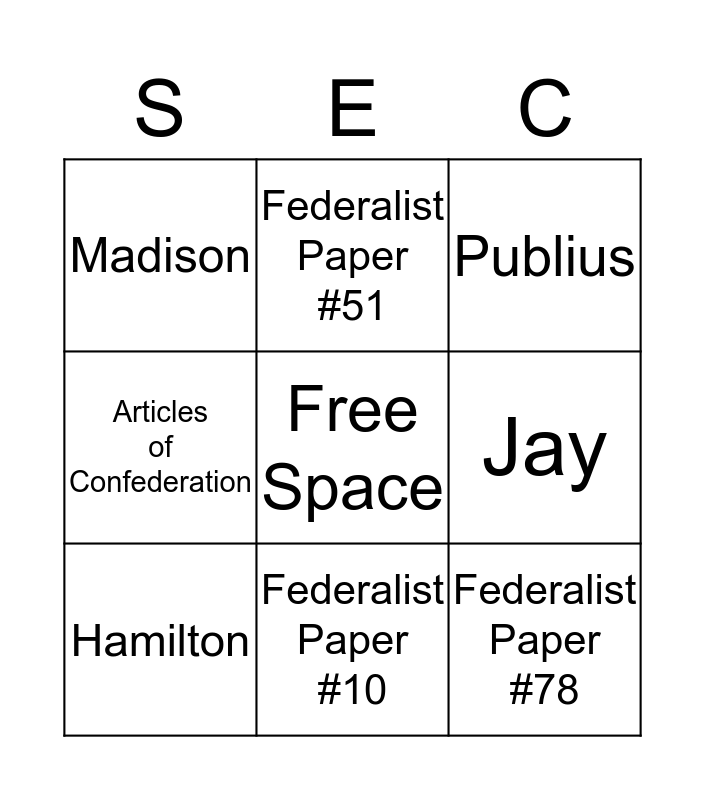 The Federalist Papers Bingo Card
