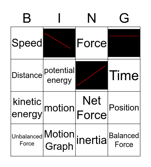 Forces, Motion and Speed Bingo Card